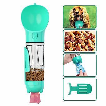 Dog Walking Water Bottle, Pet Drinking Cup 300 Ml With Poop Bag, Shovel, Dog Food Box, Cats, Blue