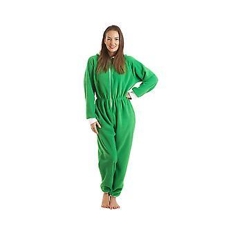 Luxo de senhoras Camille Womens tudo em um duende verde com capuz Fleece Onesie encaçapada Pyjama tamanhos 10-40