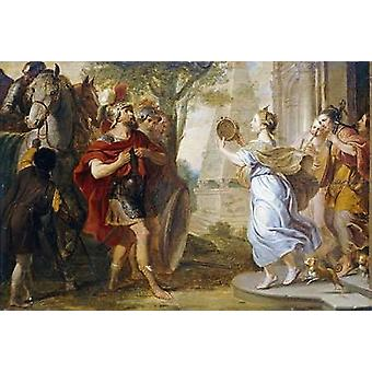 Jephthah Greeted By His Daughter Poster Print by Erasmus Quellinus