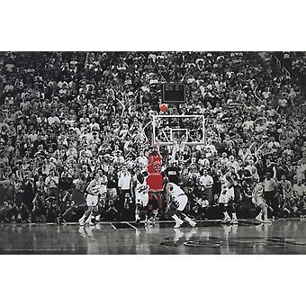 Michael Jordan sidste skudt titel vinde sidste skud i Chicago plakat plakat Print