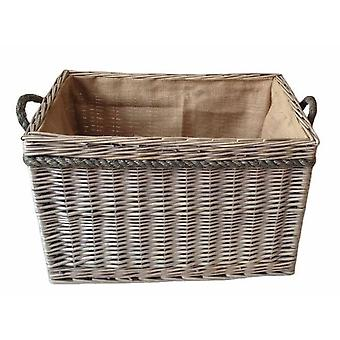 Large Rectangular Rope Handled Log Basket