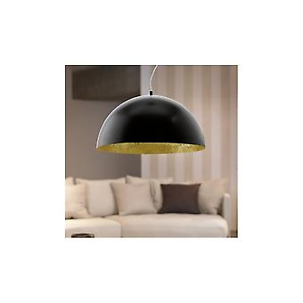 Eglo Gaetano Gloss Black And Gold Patina Bowl Ceiling Light Pendant, 530mm