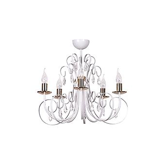 Emibig Lighting Foreman White Chandelier 5 Arm Light Fixture