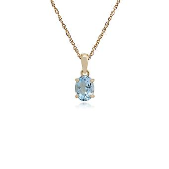 Classic Oval Aquamarine Single Stone Pendant Necklace in 9ct Yellow Gold 135P0025119