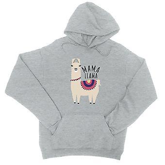 Felpa cappuccio Mama Llama Unisex grigio