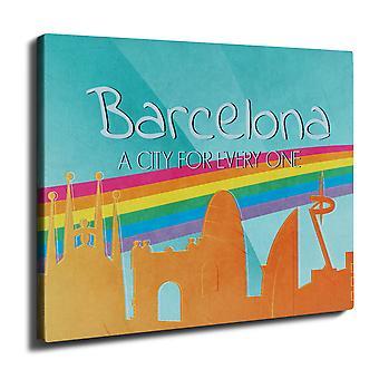 Gay Pride Barcelona Wall Art Canvas 40 cm x 30 cm | Wellcoda