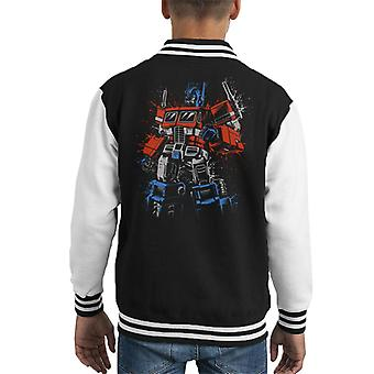 Transformers Optimus Prime Clenched Fist Kid's Varsity Jacket