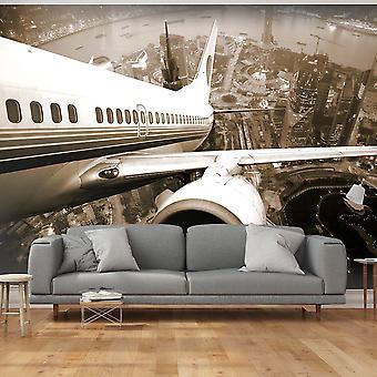 Fotomurale - Vista su città da un aereo decollante