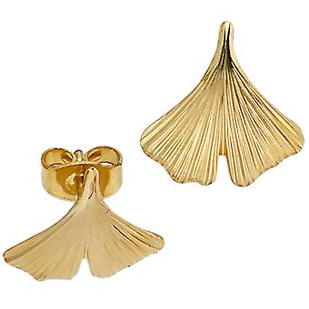 Studs GINGKO partially frosted 375 gold yellow gold earrings gold