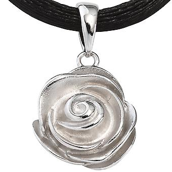 Pendant flower pendant rose 925 sterling silver rhodium plated finish