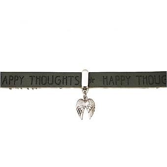 -Bracelet - protection Angel - double wing - 925 Silver - WISHES - anthracite - grey - magnetic closure