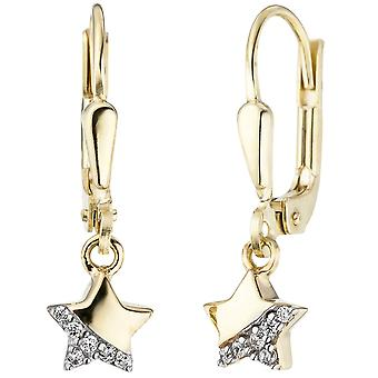 Children earrings star 375 gold yellow gold 12 cubic zirconia earrings, kids earrings