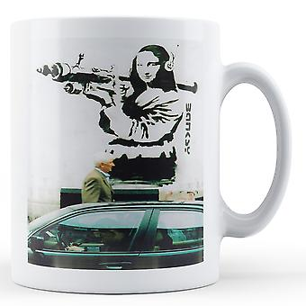 Printed mug featuring Banksy's, 'Mona Lisa Rocket Launcher' artwork