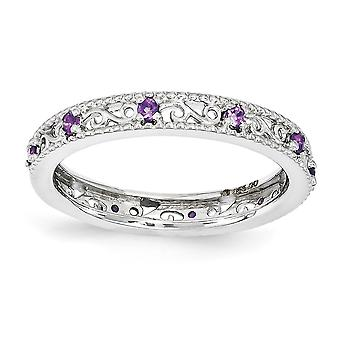 3mm 925 Sterling Silver Polished Prong set Rhodium plated Stackable Expressions Amethyst Ring Jewelry Gifts for Women -