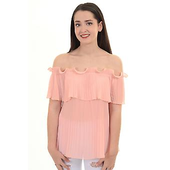 Ladies Bardot Off Shoulder See Through Sheer Chiffon Pleated Ruffle Frill Top