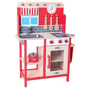 Bigjigs zabawki drewniane rolę grać udawać kuchnia z zlew, kuchenka zabawka