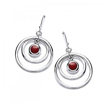 Cavendish French Silver and Red Jasper Hoopla Earrings