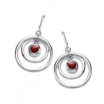Cavendish Franse zilveren en rode Jasper heisa oorbellen