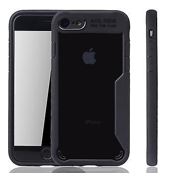 Schwarze premium Apple iPhone 8 / iPhone 7 wersja okładki. Obsługuje bezprzewodowe ładowanie | czysty akryl z miękkiego silikonu pierścień czarny