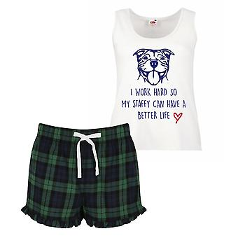 Everything Is Better In Pyjamas Ladies Tartan Frill Short Pyjama Set Red Blue or Green Blue