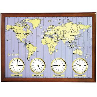 Wall clock world time clock quartz rhythm wood frame 4 cities metal dial 43 x 60 cm