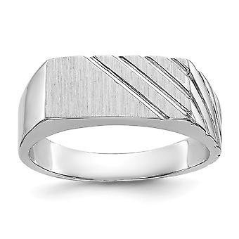 posteriore di 14 k oro bianco lucido aperta Engravable Mens dell'anello di Signet - 6,6 grammi - dimensione 11