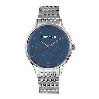 Morphic M65 Series-armbånd se w/dag/dato-sølv/blå