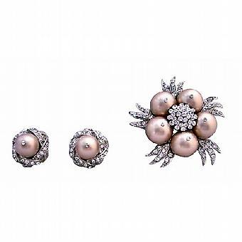 Champagner-Perlen-Brosche Ohrringe, Swarovski Schmuck Hochzeit
