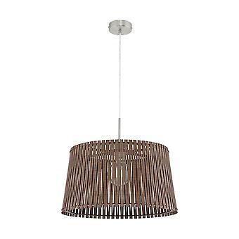 Eglo - pingente de luz de teto grande Sendero Single em acabamento de níquel acetinado com sombra de madeira marrom escuro EG96199