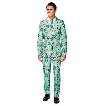 Flamingo tropical suit mint Suitmeister slimline economy 3-piece set