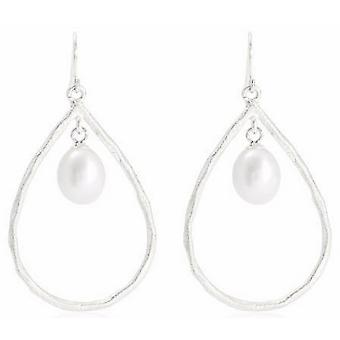 Pearls of the Orient Brushed Vermeil and Pearl Drop Earrings - Silver/White