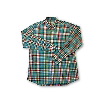 Ingram shirt in turquoise and red tartan pattern