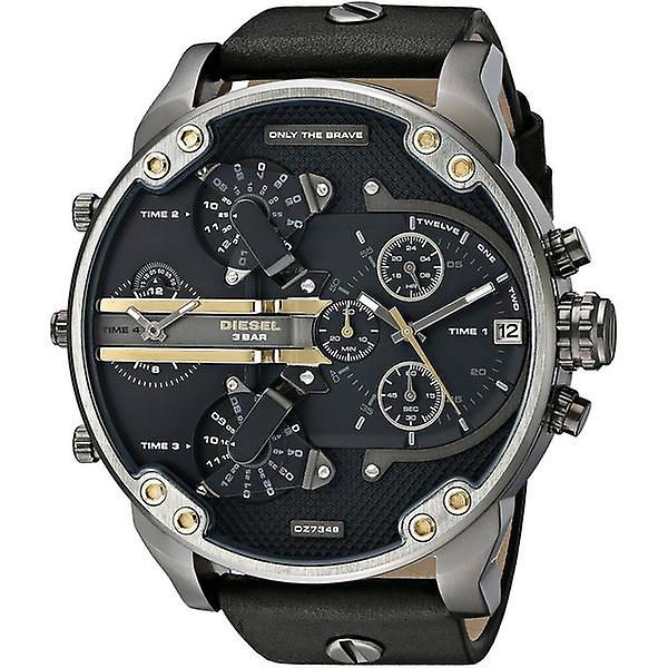 Diesel Dz7348 Mens Black Dial Black Leather Chronograph Watch