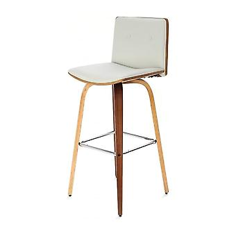 Fusion Living Ivory White Faux Leather And Walnut Wood Button Back Contemporary Bar Stool