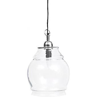 Weegschaal meubels helder glas en nikkel kleine hanger