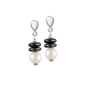 Ewige Sammlung Sopranistin Hämatit und Shell Perle Silber Ton Tropfen Ohrhänger