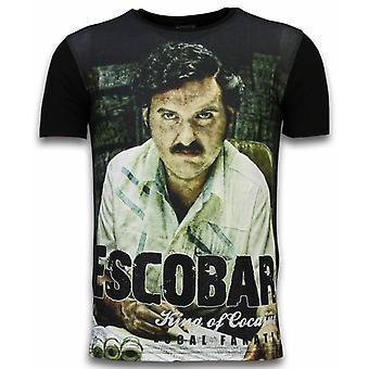 Escobar King Of Cocaine-Digital Rhinestone T-shirt-Black