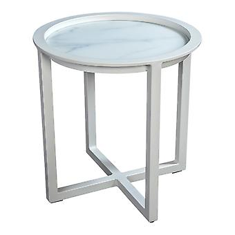 Strand7 | QUEENS LOUNGE TABLE Alum/GLASS Marmor Look 50CM |  Weiß |