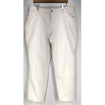 Basic Editions Jeans Zipper Button Front Slim Leg White Womens
