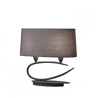 Mantra Lua Table Lamp 2 Light E27, Ash Grey With Ash Grey Shades