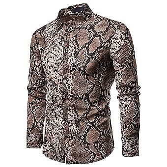Allthemen Men's Casual Shirt Snake Print Slim Fit Long Sleeve Shirt