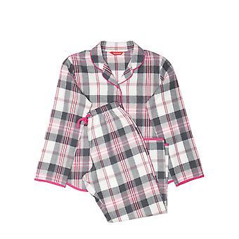 Minijammies 5500 Girl's Lola Pink Mix Check Cotton Pyjama Set