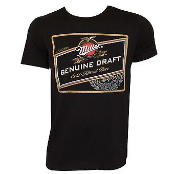 Miller Genuine Draft Logo Black Tee Shirt