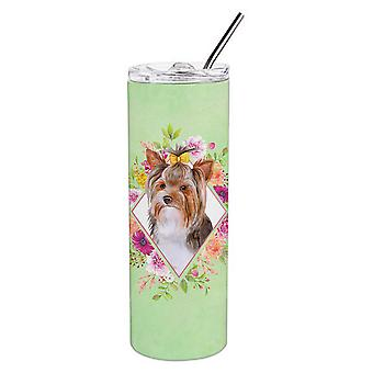 Yorkshire Terrier #1 Green Flowers Double Walled Stainless Steel 20 oz Skinny Tu