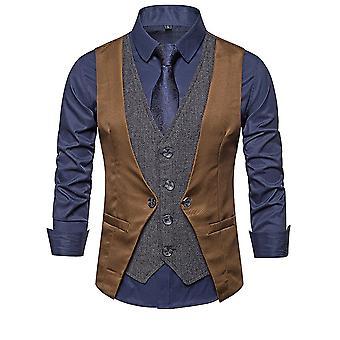 Allthemen Men-apos;s Spliced Fake-Two-Piece Casual V-Neck Vest 4 Couleurs
