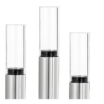 Windlights set 3-piece, stainless steel polished with glass combined