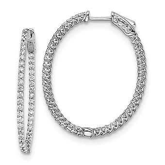 925 Sterling Silver Polished Prong set Hinged hoop Safety clasp Rhodium plated Rhodium Plated With CZ Cubic Zirconia Sim