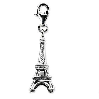 925 Sterling Silver Polished Fancy Lobster Closure 3 d Effil Tower With Lobster Clasp Charm Pendant Necklace Measures 34