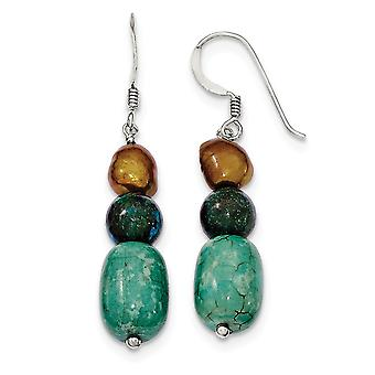 925 Sterling Silver Dangle Shepherd hook Howlite Stabilized Chrysocolla Freshwater Cultured Pearl Earrings