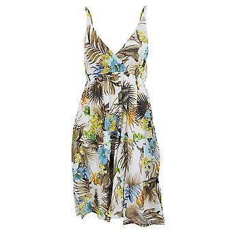 Womens/Ladies Tropical Print Strappy Crossover Summer Dress